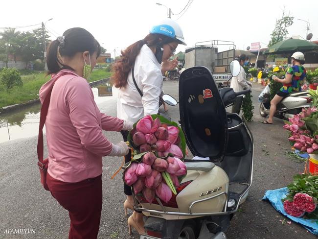 Tháng 5, sen hồng, sen trắng đầu mùa bán đầy các chợ, giá chỉ 30-120 ngàn đồng/bó, bà nội trợ thi nhau mua về cắm vì vẻ đẹp tao nhã - Ảnh 8.