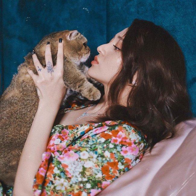 Bảo Anh cưng nựng mèo yêu.