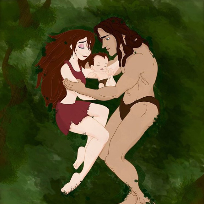 Khi 18 cặp đôi nổi tiếng của Disney khi có con, bộ tranh thu hút sự chú ý trên toàn thế giới - Ảnh 3.