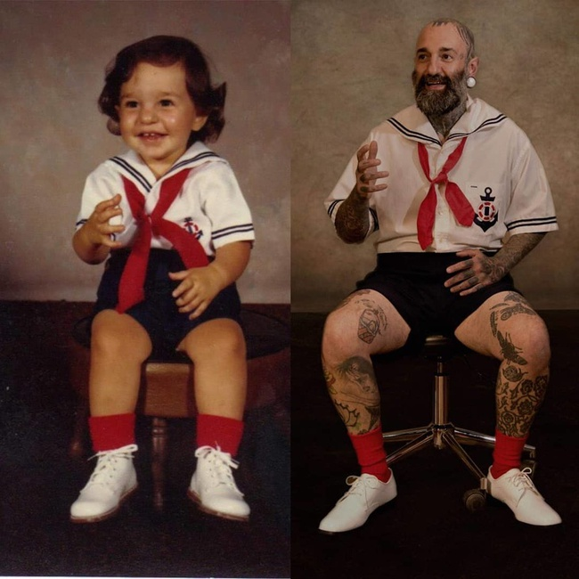 Độc đáo những bức hình chụp con lúc bé với khi lớn lên nhưng với chi tiết đặc biệt này - Ảnh 2.