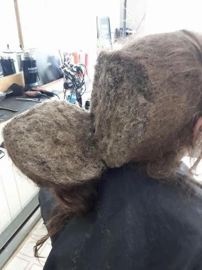 """Mang mái tóc bết nhiều năm không cắt đến tiệm đòi phục hồi, cô gái khiến mọi người choáng váng với """"tổ quạ"""" trên đầu, hình ảnh sau tân trang gây ngỡ ngàng hơn cả - Ảnh 2."""