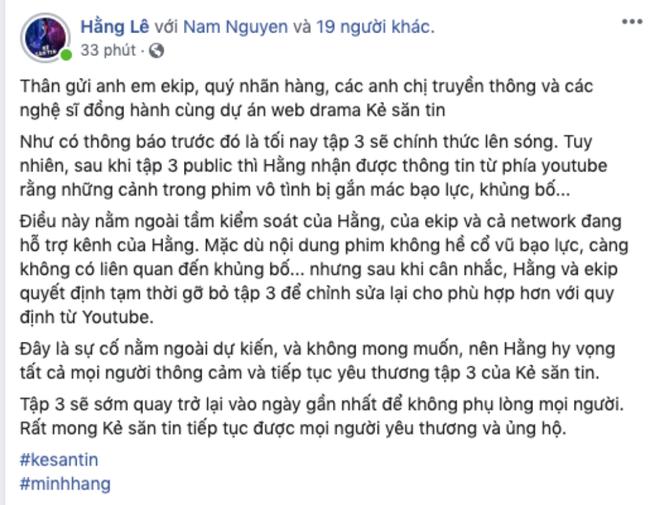 """Tập 3 webdrama """"Kẻ Săn Tin"""" của Minh Hằng bất ngờ bị Youtube tháo bỏ vì gắn mác bạo lực, khủng bố - Ảnh 3."""