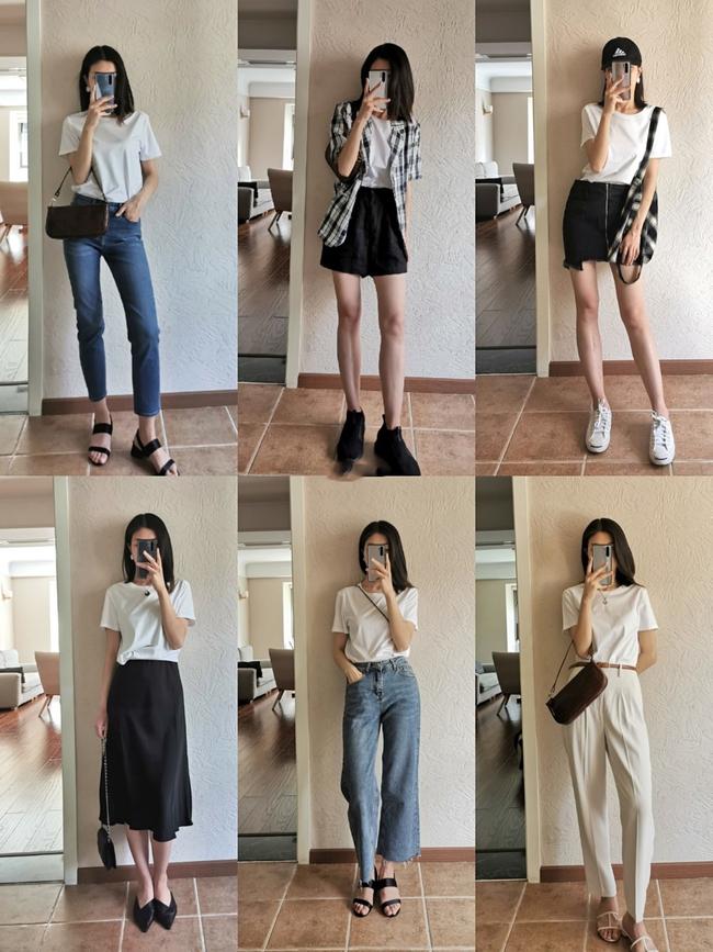 Thử xếp 6 bộ đồ với áo phông trắng cho cả tuần, tôi chưa bao giờ thấy việc chọn trang phục mỗi sáng nhanh đến vậy  - Ảnh 1.