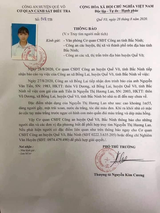 Bắc Ninh: Công an ra thông báo Truy tìm nữ sinh mất tích 3 ngày chưa tìm thấy - Ảnh 1.