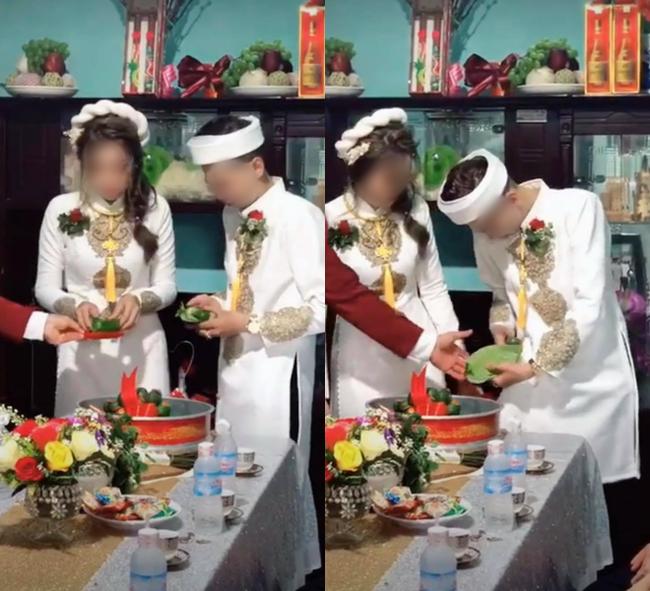 Quá mừng vì lấy được vợ, chú rể vén áo làm một hành động khiến tất cả mọi người phải ồ lên trong lễ ăn hỏi, cô dâu cũng cười đến mức phải quay lưng đi - Ảnh 1.