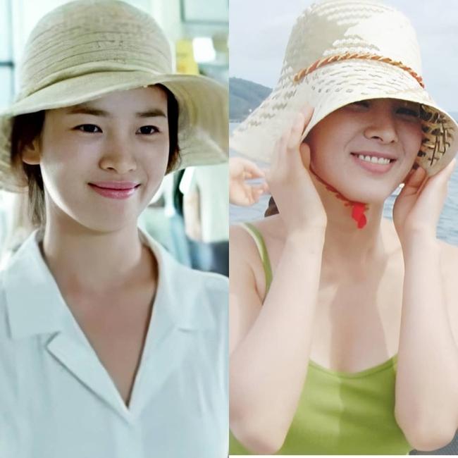 Nhan sắc của Song Hye Kyo xuất chúng đến nỗi cân đẹp mọi kiểu mũ dù sến hay lỗi thời tới đâu - Ảnh 4.