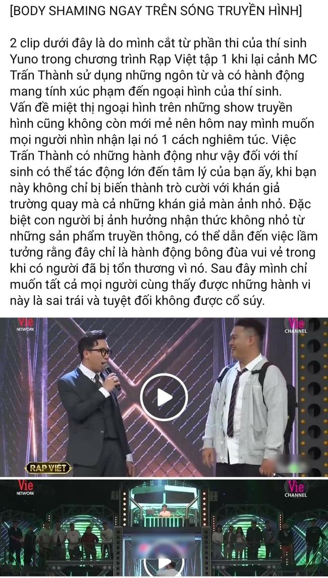 """Trấn Thành gây tranh cãi vì miệt thị ngoại hình thí sinh """"Rap Việt"""", bị chê vô duyên khi mời thức ăn thừa ngay trên sóng truyền hình - Ảnh 1."""