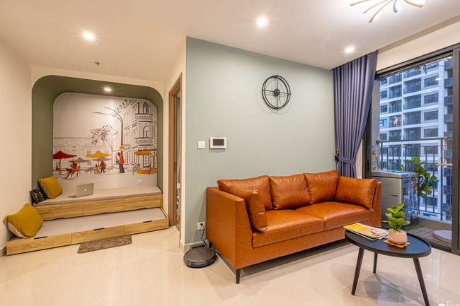 Căn hộ 43m² trang trí với màu sắc tươi sáng có chi phí hoàn thiện 100 triệu đồng ở Hà Nội - Ảnh 3.