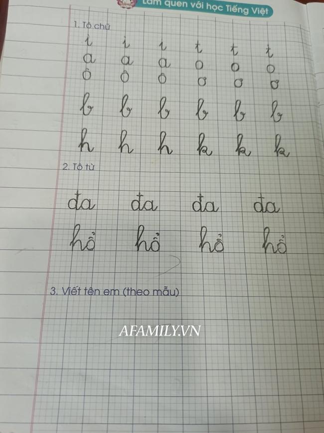 Con học lớp 1, nửa đêm vẫn vật lộn với bài tập về nhà, viết run tay vẫn chưa hết bài luyện chữ - Ảnh 2.