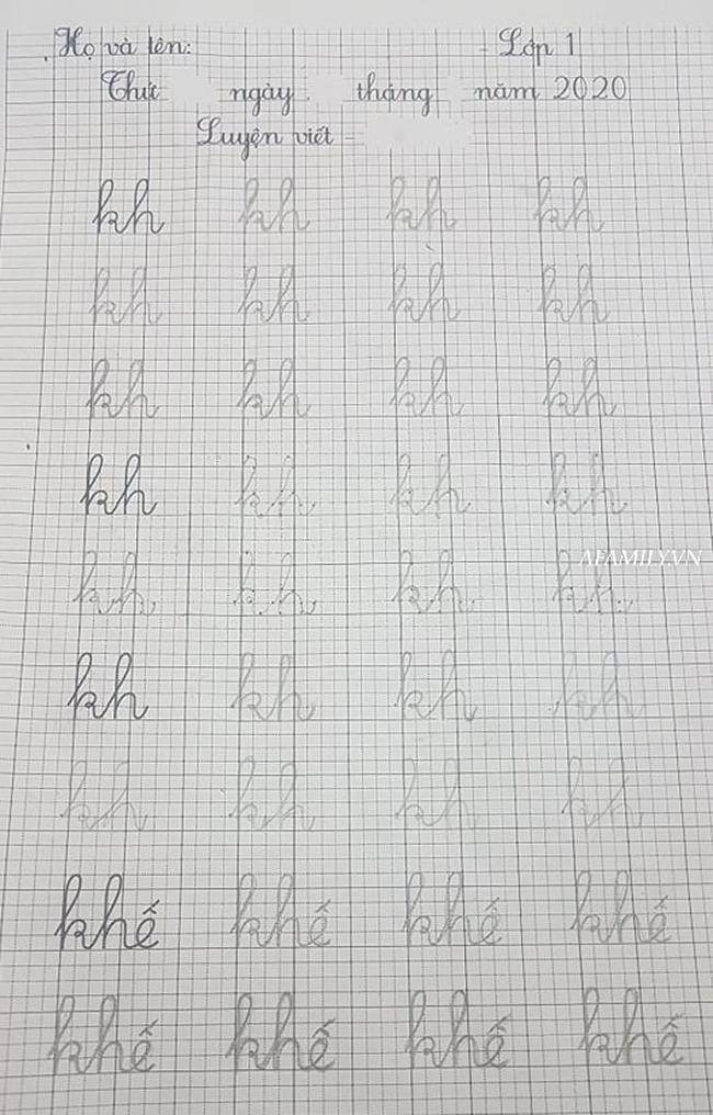 Con học lớp 1, nửa đêm vẫn vật lộn với bài tập về nhà, viết run tay vẫn chưa hết bài luyện chữ - Ảnh 5.