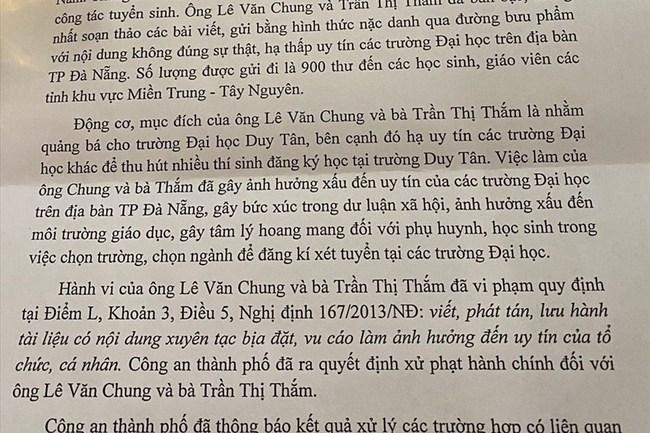 Xác định danh tính 2 đối tượng gửi 900 thư nặc danh nói xấu trường khác, trong đó có trưởng đoàn tuyển sinh Đại học Duy Tân - Ảnh 1.