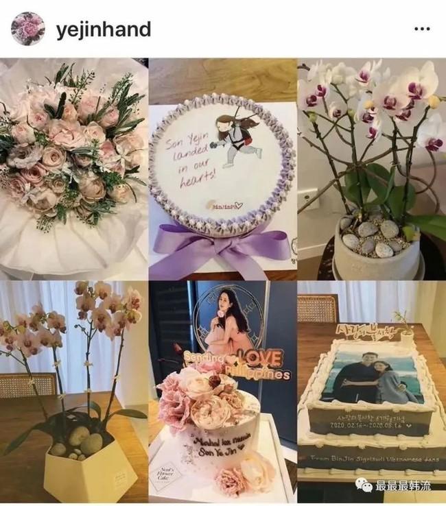 Không chỉ like bài, Son Ye Jin còn đăng hẳn chiếc bánh có hình cô và Hyun Bin.