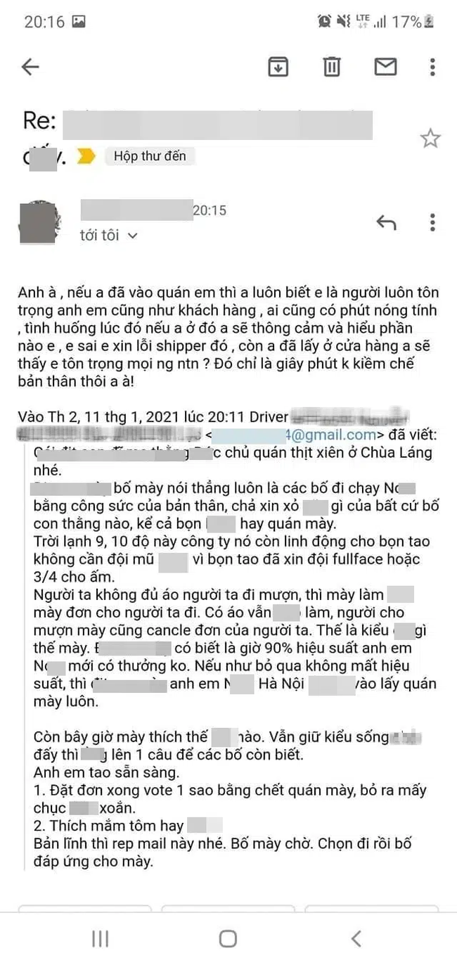 Dân mạng lan truyền hình ảnh chủ quán thịt xiên nướng Chùa Láng rep mail xin lỗi shipper, lý giải việc văng tục là do... không kiềm chế được  - Ảnh 3.