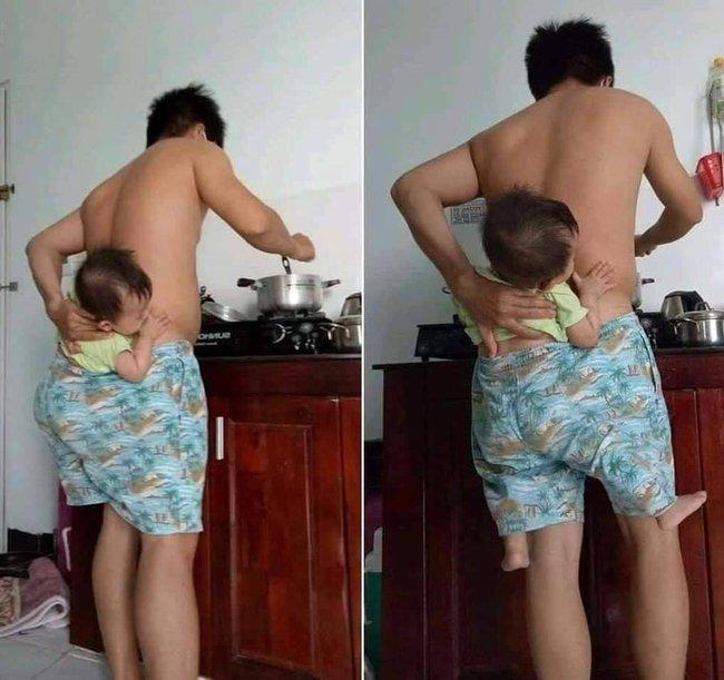"""Vừa trông con vừa nấu cơm, ông bố nghĩ ra phương án oái oăm khiến các mẹ bật cười: """"Các anh đã hiểu được nỗi khổ của chúng tôi chưa?"""" - Ảnh 1."""