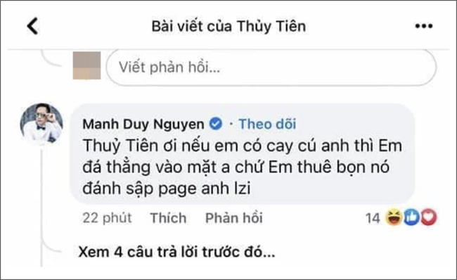 """Facebook mạo danh ca sĩ Duy Mạnh tiếp tục vào """"cà khịa"""", nói Thủy Tiên cay cú nên hại mình? - Ảnh 2."""
