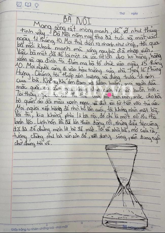 Học sinh viết văn kể về bà nội, thầy giáo đọc xong phải cho ngay điểm 10 cùng lời nhận xét đáng chú ý - Ảnh 1.