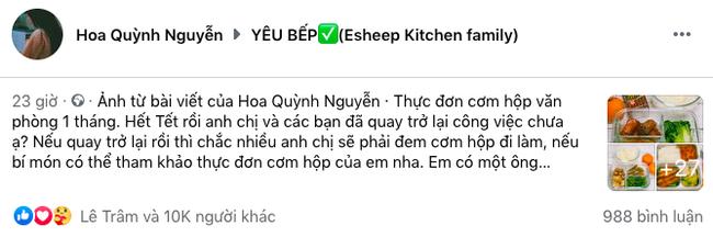 Vợ đảm khoe thực đơn cơm trưa nấu cho chồng gây bão cộng đồng mạng chưa đầy 24h đã 10k like - Ảnh 1.