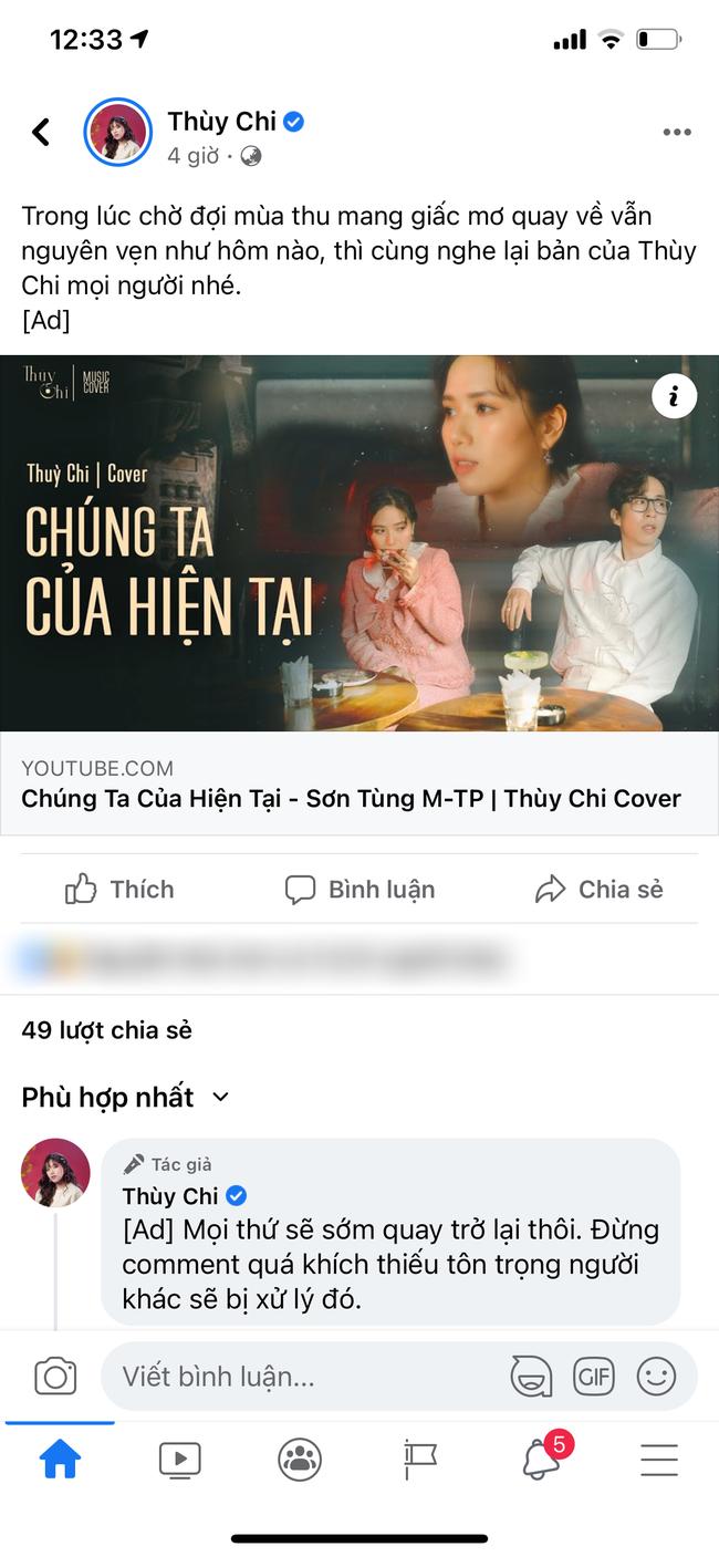 """Thùy Chi đăng bản cover """"Chúng ta của hiện tại"""" lên Fanpage để câu view trong lúc Sơn Tùng M-TP gặp scandal - Ảnh 2."""
