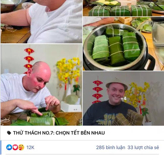 Khỏe mạnh sau khi cả nhà mắc COVID-19, cặp đôi vợ Việt chồng Mỹ đón Tết đặc biệt nơi xứ người: Chồng ngoại quốc tự tay gói bánh Chưng, mâm Tết món nào cũng ăn bằng sạch! - Ảnh 1.