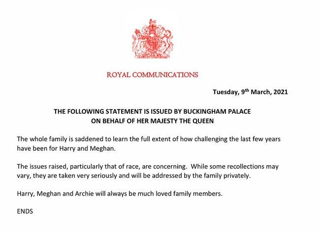 Nữ hoàng Anh chính thức lên tiếng sau cuộc phỏng vấn rúng động của nhà Sussex khiến ai nấy đều tâm phục khẩu phục còn Meghan phải thấy xấu hổ - Ảnh 1.