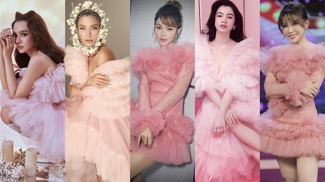 Chị em Nam Anh - Nam Em, siêu mẫu Võ Hoàng Yến... cả Vbiz hóa công chúa kiêu sa trong những thiết kế váy áo bay bổng - Ảnh 3.