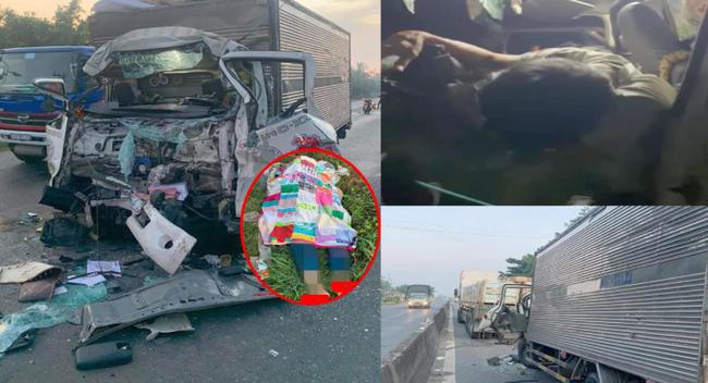 Hiện trường ám ảnh vụ xe tải tông xe đầu kéo, 2 vợ chồng tài xế xe tải thương vong - Ảnh 1.