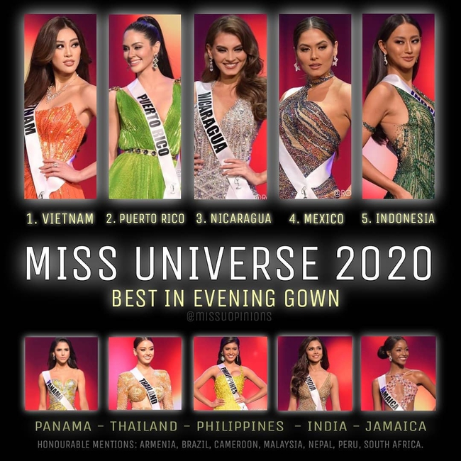 Chuyên trang sắc đẹp bất ngờ công bố Khánh Vân đứng đầu bảng xếp hạng phần thi trang phục dạ hội sau bán kết Miss Universe 2020 - Ảnh 1.