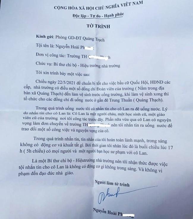 Quảng Bình: Thầy hiệu trưởng nhắn tin rủ nữ giáo viên ra đê chơi gây xôn xao dư luận - Ảnh 2.