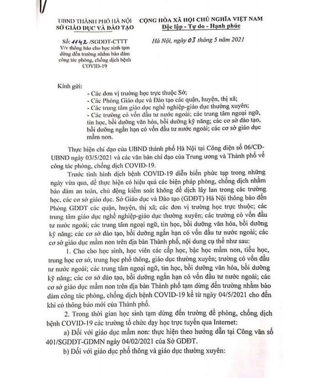 Mới: Hà Nội cho toàn bộ học sinh tạm dừng đến trường từ ngày 4/5   - Ảnh 1.