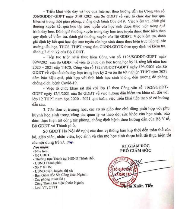 Mới: Hà Nội cho toàn bộ học sinh tạm dừng đến trường từ ngày 4/5   - Ảnh 2.