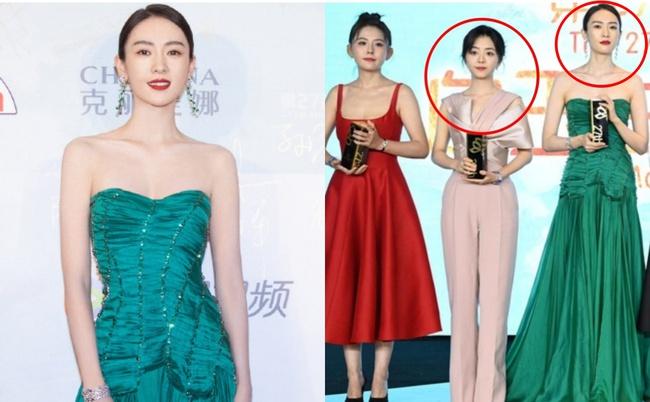 """Bộ đầm xanh hở ngực sexy thế nào mà giúp Đồng Dao """"chặt tan nát"""" Đàm Tùng Vận ở tiệc hạng sang Bạch Ngọc Lan  - Ảnh 2."""