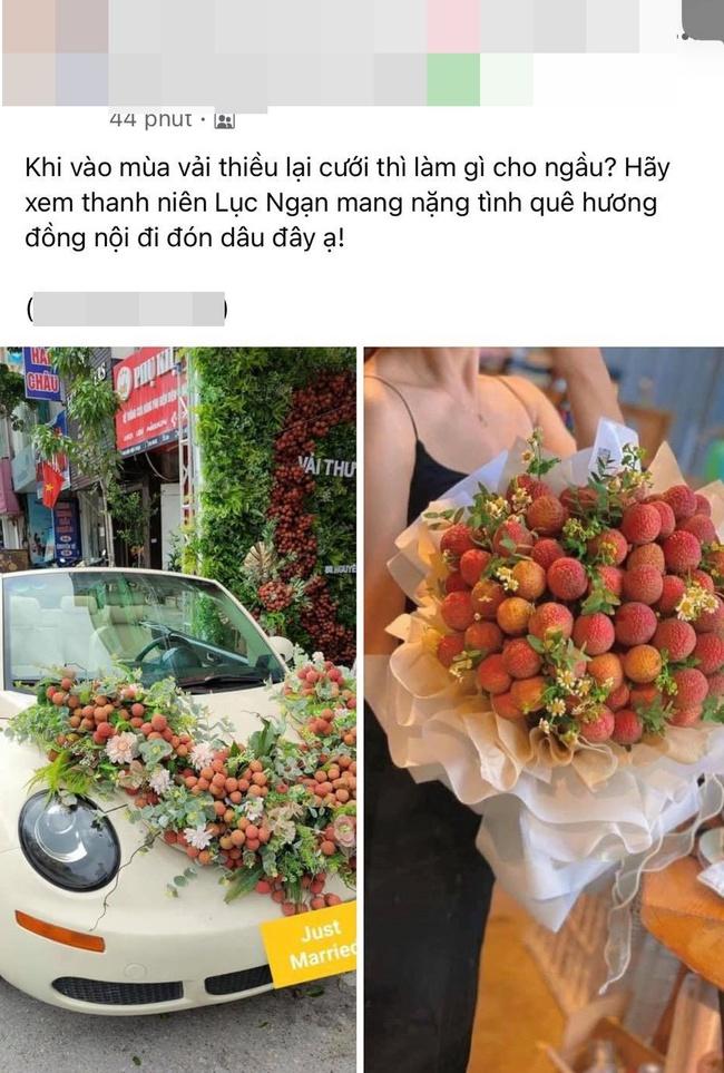 Thanh niên Bắc Giang chơi lớn không dùng hoa mà mua vải để trang trí xe cưới khiến dân mạng hết lời khen ngợi vì hành động nghĩa tình - Ảnh 1.