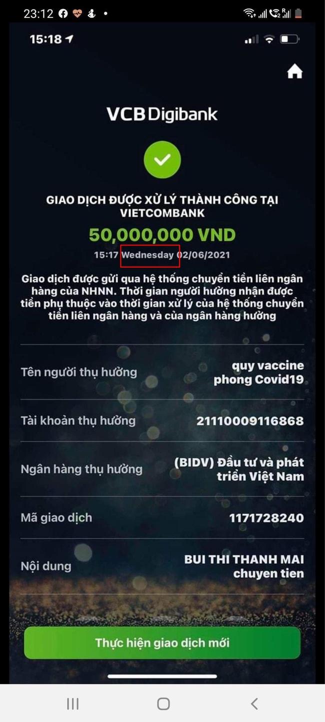 Sau Vy Oanh, lại thêm một mỹ nhân Việt bị nghi làm giả biên lai chuyển tiền ủng hộ mua vắc xin Covid-19 - Ảnh 2.