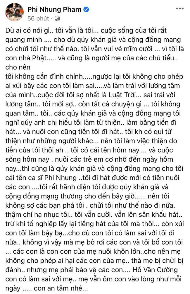 """Phi Nhung lên tiếng giữa ồn ào liên quan tới con nuôi Hồ Văn Cường: """"Con có làm sai với mẹ, mẹ vẫn ôm con vào lòng như mỗi ngày"""" - Ảnh 1."""