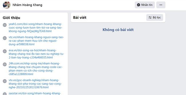 """Trang cá nhân của """"cậu IT"""" Nhâm Hoàng Khang bỗng sạch trơn không còn bài viết nào sau thông tin hacker bị Cục Cảnh sát Hình sự Bộ Công An triệu tập - Ảnh 1."""