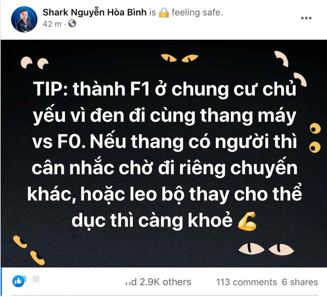 Shark Bình thông báo mình là F1 sau khi đi thang máy cùng F0, gửi lời nhắn nhủ đến những ai đang sống trong chung cư - Ảnh 1.