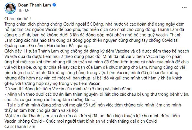 Thanh Lam lên tiếng về việc hoàn thành tiêm 2 mũi vắc xin - Ảnh 2.
