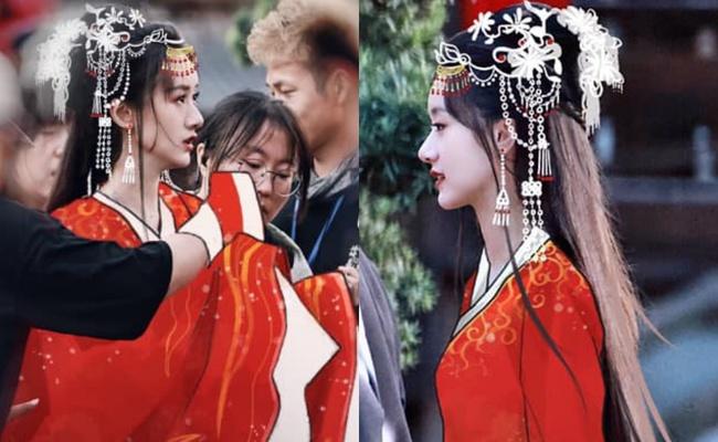 Lộ tạo hình áo đỏ cực phẩm của Viên Băng Nghiên, fan truyền tay nhau ảnh chụp vội đẹp mê mẩn  - Ảnh 1.