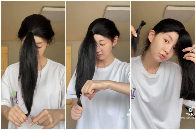 Đu trend Tiktok, Thùy Anh (Tình Yêu Và Tham Vọng) tự cắt tóc layer tại nhà: Cái kết hết hồn nhưng cũng may còn cứu được - Ảnh 2.