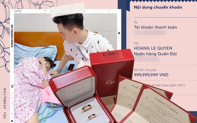 """Vợ sinh con, chồng chuyển khoản """"thưởng"""" gần 1 tỷ cùng cặp nhẫn siêu sang và câu đáp trả cho nghi án photoshop vì một """"điều lạ"""" ở lệnh chuyển khoản! - Ảnh 1."""