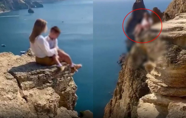 """Mẹ đưa con trai lên vách đá chụp ảnh sống ảo, dân mạng phát hiện chi tiết """"chết người"""", tuyên bố """"tước quyền làm mẹ của cô ta ngay lập tức"""" - Ảnh 3."""