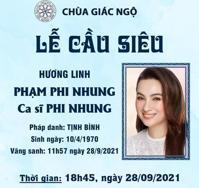Thông tin về lễ cầu siêu cho ca sĩ Phi Nhung - Ảnh 1.