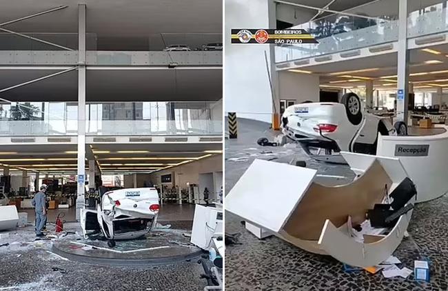 Khoảnh khắc xe hơi lao từ tầng 2 rơi trúng hai lễ tân để lại hiện trường kinh hoàng - Ảnh 2.