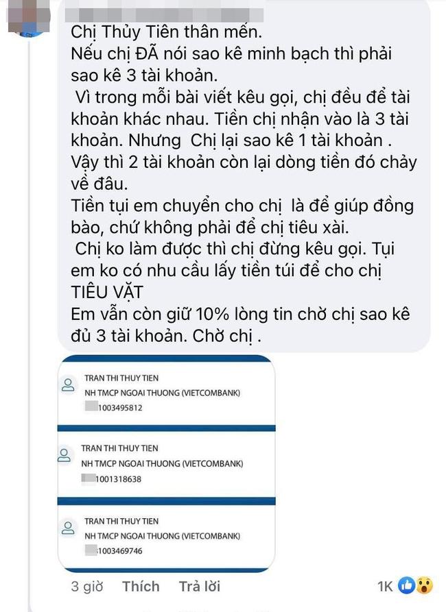 Netizen soi Thuỷ Tiên sử dụng 3 số tài khoản ngân hàng kêu gọi từ thiện nhưng chỉ sao kê 1, thực hư là gì? - Ảnh 2.