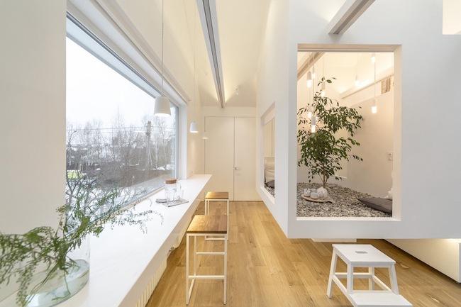 Ấn tượng với ngôi nhà chỉ 48m² nhưng có khoảng xanh cực bắt mắt với phòng khách treo lơ lửng - Ảnh 1.