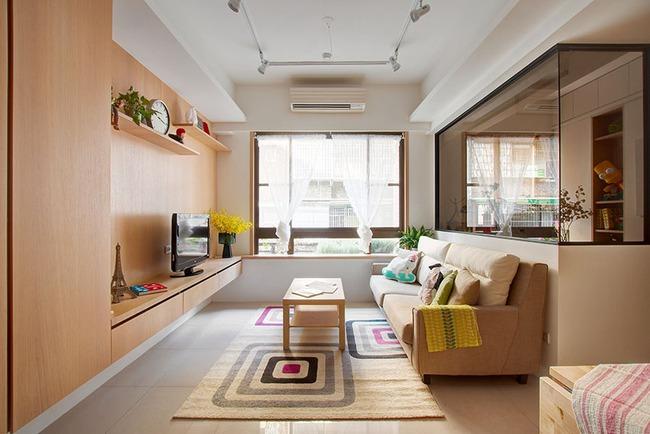 Căn hộ 50m² với cách bố trí các khu vực chức năng rất linh hoạt, đảm bảo không gian sống tự do cho mỗi người - Ảnh 3.