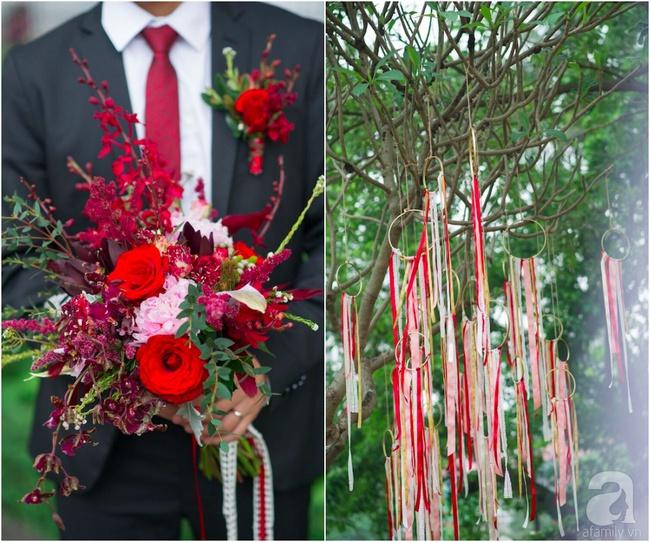Cặp đôi Hà Thành trang trí tiệc cưới sân vườn với sắc đỏ đẹp như một giấc mơ về hạnh phúc - Ảnh 9.