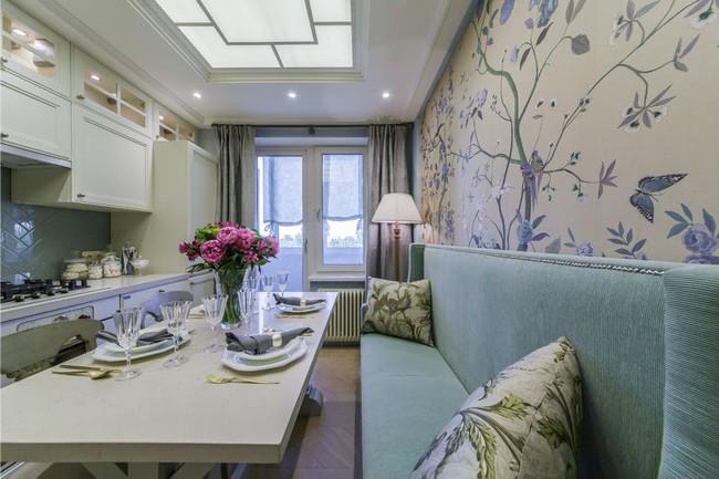 Cách chọn rèm cửa cho nhà bếp kết nối với ban công vừa đẹp vừa thuận tiện đi lại - Ảnh 1.