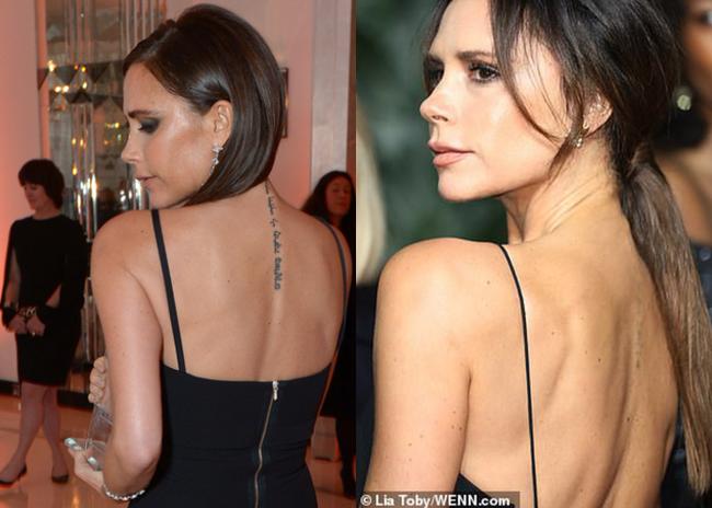 Victoria khiến fan hoang mang khi xóa sạch hình xăm bày tỏ tình yêu với David Beckham trên lưng  - Ảnh 1.