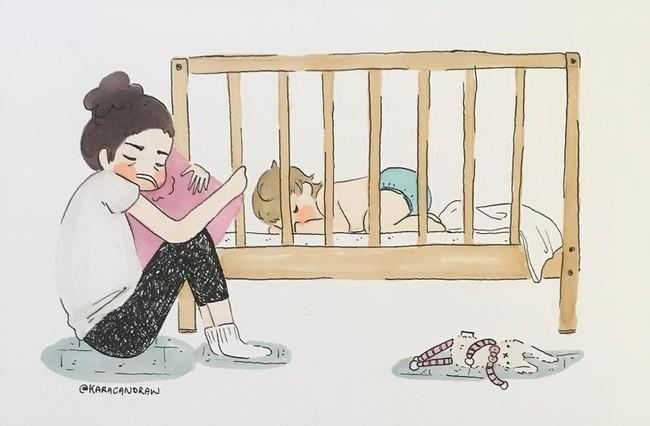 Mẹ nuôi con nhỏ nào cũng thấy mình trong những bức vẽ phác họa khoảnh khắc đời thường mà đầy xúc cảm này - Ảnh 4.